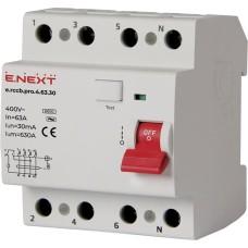 Диференціальний вимикач e.rccb.pro.4.63.30 4p 63А 30 мА E-next