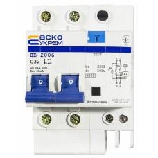 Диференціальний автоматичний вимикач ДВ-2006 32A 30мА 2п Аско Укрем (A0030030003)