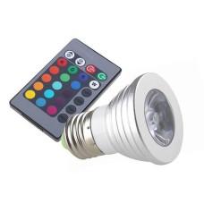 Лампа світлодіодна 3W E27 RGB з пультом LM294 Lemanso