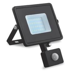 Прожектор LED 20W + датчик руху 6400K чорний IP44 LL-906  Feron