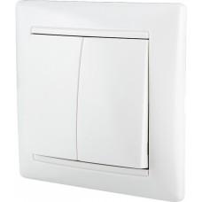 Вимикач двоклавішний білий  ВВ10-2-0-FR-W АскоУкрем