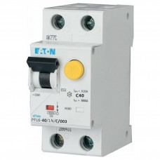 Диференційний автоматичний вимикач PFL6-40/1N/C/0.03 40А 30мА 1+Нп. Eaton