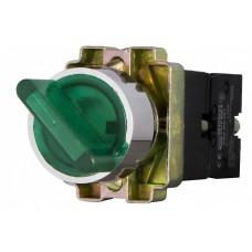 Перемикач XB2-BK2365 1NO+1NC 2-позиційний поворотний зелений з підсвіткою АскоУкрем