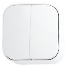 Вимикач 2-клавішний білий EVA