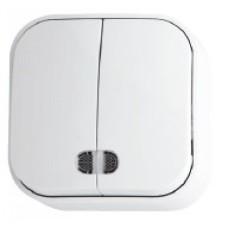 Вимикач 2-клавішний з підсвіткою білий EVA