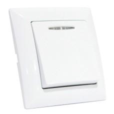 Вимикач 1-клавішний з підсвічуванням білий TINA