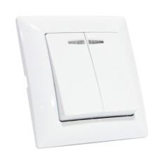 Вимикач 2-клавішний з підсвічуванням білий TINA