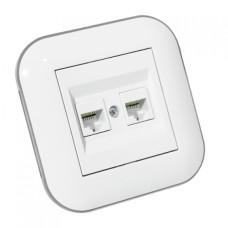 Розетка компьютерная двойная (CAT6) LOFT белый+серый