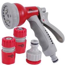 Пістолет-розпилювач для поливу, 8 функцій і різьбовий адаптер 1/2,3/4 і 2 роз'єми для шланга 1/2 INTERTOOL GE-0002