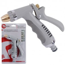 Пістолет-розпилювач для поливу хромований з плавним регулюванням потоку води. ABS, PP, TPR, ZINC ALLOY, BRASS INTERTOOL GE-0013