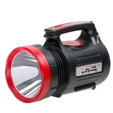 Ліхтар акумуляторний 1LED 5W + 22 SMD, виносна сонячна панель, виносні 3 led лампи (кабель 3м), радіо, кабель для зарядки телефону-планшета, слот для карт micro-sd, радіо Intertool (LB-0104)