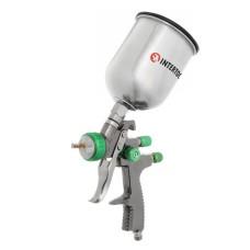 Фарбопульт пневматичний LVLP GREEN професійний, форсунка 1.3мм, верхній металевий бачок 600мл., 1.5бар INTERTOOL PT-0131