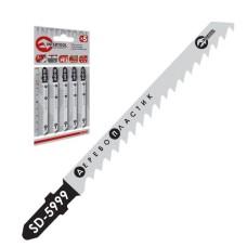 Полотно пильне для лобзика робоча довжина 75 мм, відстань між зубцями 4,0 мм для роботи по дереву INTERTOOL SD-5999
