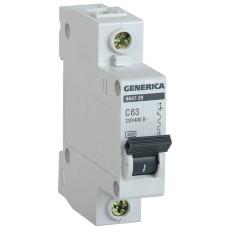 Автоматичний вимикач Generica MVA25-1-063-C ВА47-29 63А 4,5кА (C)