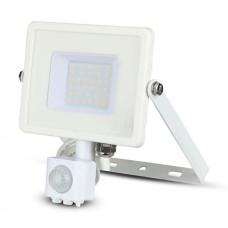 Вуличний прожектор V-TAC 3800157631143 LED 30Вт SKU-458 Samsung CHIP 230В 4500К з сенсором руху і освітленості (білий)