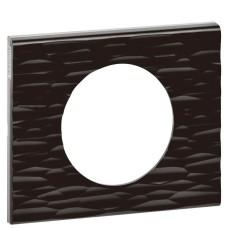 Однопостова рельєфна рамка Legrand Celiane Corian (069021) (чорний)