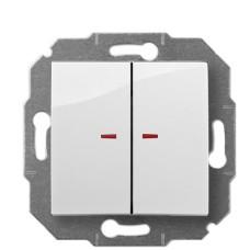 2-клавішний вимикач Elektro-Plast Carla 1724-10 з підсвіткою (білий)