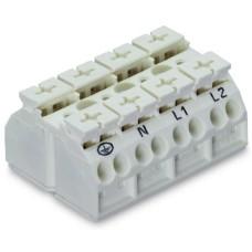 Чотирьохполюсна чотирьохпровідна PE-N-L1-L2 клема Wago 862-9604 Push Wire (біла)