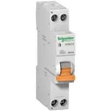 Диференційний автомат Schneider Electric АД63К 1P+N 16A 30mА з 18мм