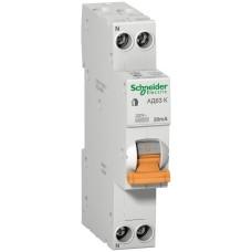 Диф. автомат Schneider Electric АД63К 1P+N 20A 30mА C 18мм