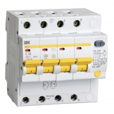 Диференційний автоматичний вимикач IEK АД14 4Р, 32А, 30мА