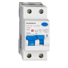 Вимикач диференційного струму Schrack АВДТ 6кА/30мА 1P+N 16A характеристика С тип A