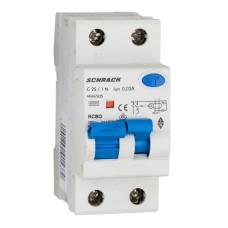 Вимикач автоматичний диференційний Schrack АВДТ 6кА/30мА 1P+N 25A характеристика з тип A