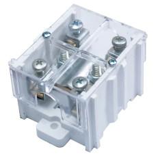 Клема прохідна КП 95ЛК (30) 1х95 мм.кв. / 4х16 мм.кв. з латунною контактною пластиною з кришкою