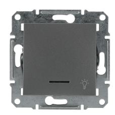 Вимикач кнопковий без рамки «Cвітло» сталь Asfora, EPH1800162