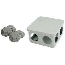 Коробка монтажна з кришкою 85х85х50мм з 7 кабельними вводами для труб