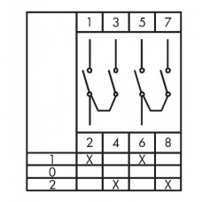 Кулачковий перемикач полюсів EMAS PS080KD234 реверсивний (1-0-2) 80А