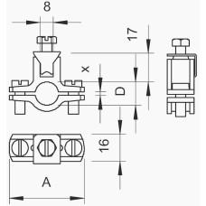 Хомут заземлення OBO Bettermann (5050111) 1 G (5-10 мкм) з оцинкованої сталі
