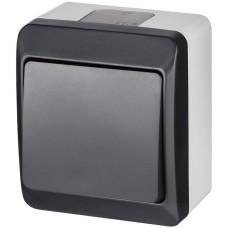 1-клавішний вимикач Elektro Plast 0331-7 Hermes IP44 антрацит