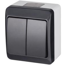 Двухклавішний вимикач Elektro Plast 0332-7 Hermes IP44 антрацит