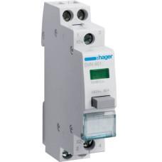 Зворотний Кнопковий вимикач Hager SVN461 12/48В 16А 2НО з зеленим індикатором