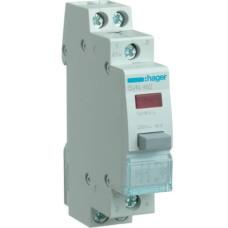 Зворотний Кнопковий вимикач Hager SVN462 12/48В 16А 2НО з червоним індикатором