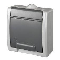 Одномісна розетка Elektro-Plast Aquant 1244-10 (сіра)