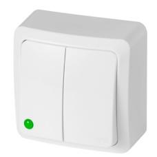 Двухклавішний вимикач Elektro-Plast Berg 3711-00 (білий)