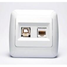 Комп'ютерно телефонна розетка Gunsan 1231100161132 Fantasy cat.5+cat.3 (біла)