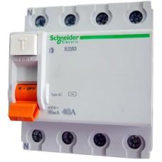 Пристрій захисного відключення Schneider Electric ВД63 4P 63A 30mА