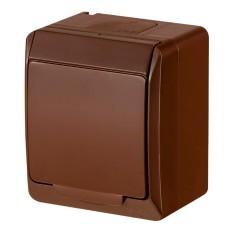 Одномісна розетка Elektro-Plast Hermes 0324-06 з кришкою (коричнева)