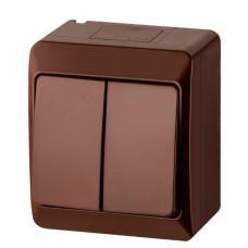 Двухклавішний вимикач Elektro-Plast Hermes 0332-06 (коричневий)