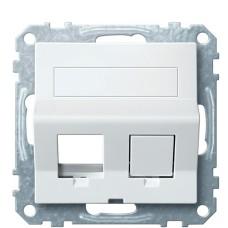 Центральна плата для Keystone RJ45 розетки Schneider Electric Merten System M MTN4568-0319 з полем для напису (полярно білий)