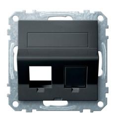 Центральна плата для Keystone RJ45 розетки Schneider Electric Merten System M MTN4568-0414 з полем для напису (антрацит)