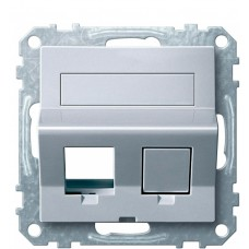 Центральна плата для Keystone RJ45 розетки Schneider Electric Merten System M MTN4568-0460 з полем для напису (алюміній)