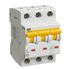 Автоматичний вимикач IEK ВА47-60 3Р 1А 6кА «С» (MVA41-3-001-C)