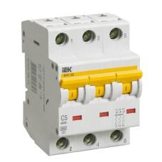 Автоматичний вимикач IEK ВА47-60 3Р 5А 6кА «С» (MVA41-3-005-C)
