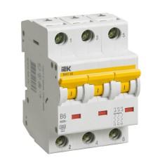 Автоматичний вимикач IEK ВА47-60 3Р 6А 6кА «B» (MVA41-3-006-B)