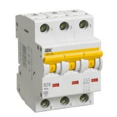 Автоматичний вимикач IEK ВА47-60 3Р 20А 6кА «B» (MVA41-3-020-B)