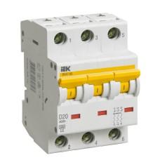 Автоматичний вимикач IEK ВА47-60 3Р 20А 6кА «D» (MVA41-3-020-D)